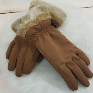 NWOT HEAD women's tan fur wrist winter gloves Med